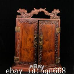 15 Chinese old antique huanghuali wooden handcarved Jewelry cabinet box