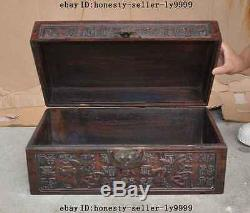 16Antique chinese huanghuali wood carving hundred Cabinet Chest Jewelry boxes