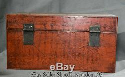 16Old Chinese Dynasty lacquerware Wood Dragon Storage Food jewelry Treasure Box