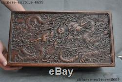 16Old Chinese Huanghuali Wood Carved 10 dragons Totem storage boxes Jewelry Box