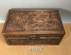 16'' Chinese Antique Wood Box natural old Rosewood Box Jewelry Box dragon