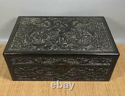 16' Chinese Antique Wood Box natural old Rosewood Box Jewelry Box dragon