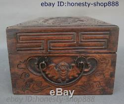 16 Chinese Huang Huali Wood Carved Bat Coin Peach Storage Jewelry Chest Bin Box