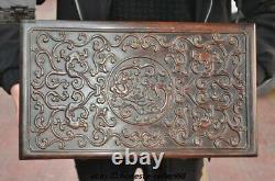 16 Chinese Huanghuali Wood Carved Dragon Treasure chest Jewelry storage box