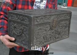 16 Chinese Rosewood Wood Carved Dragon Storage Jewelry Box Treasure Case Statue
