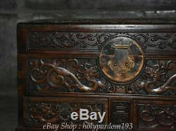 16 Old Chinese Huanghuali Wood Carving Dragon Beast storage Jewelry box Casket