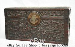 16 Old Chinese Huanghuali Wood Dynasty Dragon Jewelry Box Jewel Case Container