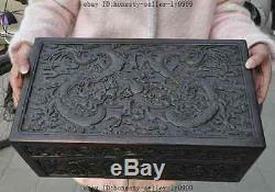 16 old chinese Rosewood wood dragon play beast statue Jewelry Box storage boxes