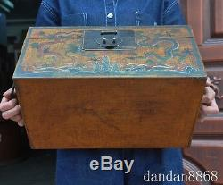 16 old chinese lacquerware wood dragon beast statue Jewelry Boxes storage box A