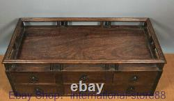 17.4 Old Chinese Huanghuali Wood Hand Carving Palace drawer Make up Jewelry box
