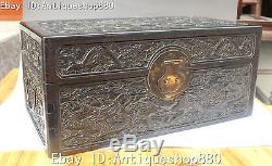 17 Chinese Ebony Wood Carving Nine Dragon Dragons Case Casket Box Jewelry Boxes