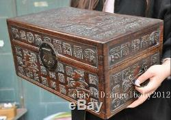 18 Chinese Huanghuali wood carving longevity statue Jewelry Box boxes cabinet