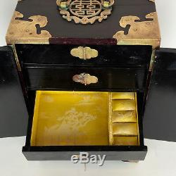 1950's Chinese Rosewood Green Jade Etched Brass Padlock Silk Jewelry Box Vintag