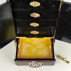 1950's Chinese Rosewood Green Jade Etched Brass Padlock Silk Jewelry Box Vintage