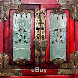19th C Antique Chinese Jewelry Box with Jade Inset