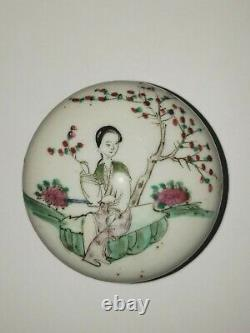 19th Century Chinese Famille Rose Porcelain Lidded Jewelry Trinket Box 735