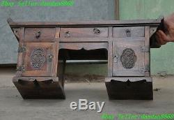 21 Chinese Huanghuali wood carving flower statue Drawers Table Desk Jewelry Box