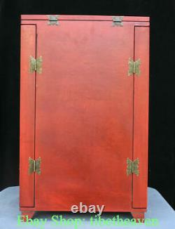 22 Old Chinese Red lacquerware Wood Dragon Phoenix Flower Drawer Jewelry Box