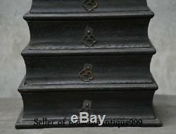 32CM Old Chinese Black Ebony Wood Dynasty Carving 5 layer jewelry Box cabinet