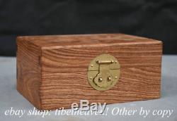 4.8 Rare Chinese Huanghuali Wood Carving Ghost Eyes Jewel Case Jewelry Box