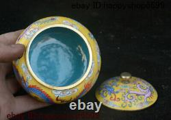 4 Old Chinese Dynasty Bronze Cloisonne Enamel Dragon Loong Storage Jewelry Box