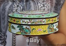 6Old China Dynasty bronze Cloisonne Enamel Flower bird Magpie Jewelry Box boxes