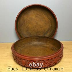 6.7 Chinese Antique Old dynasty Lacquer ware handcarved Landscape Jewelry box