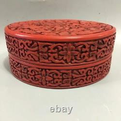6.8 Rare Chinese Collect Lacquer Wood Hand Carved Flower Jewel Jewelry Box Pot