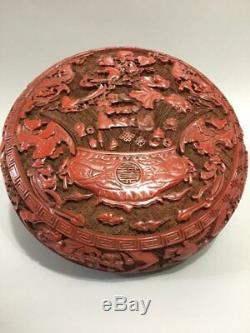 6 Chinese antique Lacquer ware Qianlong mark double Phoenix fish Jewelry box