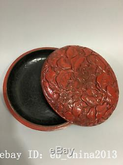 6 Chinese antique Lacquer ware wooden handcarved flowers Jewelry box statue