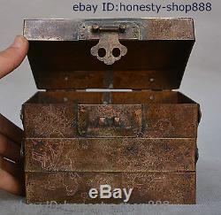 6 Old Chinese Pure Bronze Copper Good Lucky Tongzi Child Fold Box Jewelry Boxes