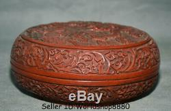 7.6 Antique Old Chinese Red Lacquerware Dynasty Palace Dragon Jewelry box Boxes