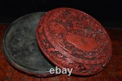 7.6 Chinese old antique qianlong mark Lacquer ware Goldfish Jewelry box