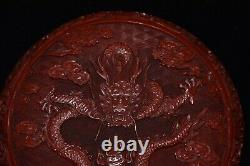 7.6 Exquisite Chinese antique qianlong mark Lacquer ware dragon Jewelry box