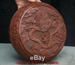 7.6 Old Chinese Red Lacquerware Dynasty Palace Dragon Jewelry box jewel case