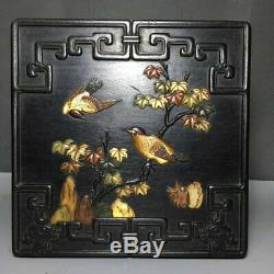 7 Chinese old Antique huanghuali wood inlay double bird jewelry box