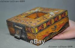 7 Rare old Chinese lacquerware wood carving Sika deer Storage Jewelry box case