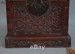 8Old Chinese China huanghuali wood Hand carved flower Storage jewelry box boxes