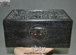8Old Chinese Palace Rosewood Wood Carved Dragon Totem Jewelry Boxstorage boxes