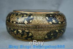 8.4 Qianlong Marked Old Chinese Lacquerware Gold Dynasty Dragon jewelry Box