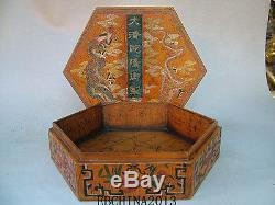 8.6Old Antique Chinese Ancient Boxwood Lacquer Dragon Painting Jewelry Box