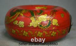 8.6 Rare Old Chinese Red Lacquerware Dynasty Dragon Phoenix annular Jewelry box