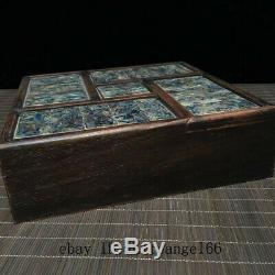 8 Chinese old antique Huanghuali wood inlay shell Jewelry Storage box h419