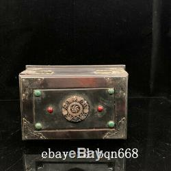 8 Chinese old antique Redwood handcarved Mosaic jade Jewelry box