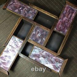 8 Chinese old hand carved huanghuali wood inlay Pink shell Jewelry Storage box