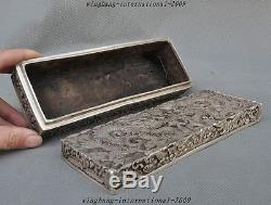 8 Marked Old Chinese Silver Dragon Play Bead Lucky Statue Jewelry Box Boxes