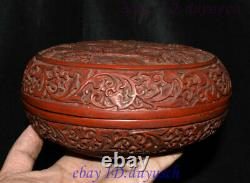 8 Old Chinese Carved Lacquerware Craftwork Dragon pattern casket Jewelry Box