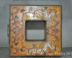 8 Old chinese lacquerware wood Sika Deer statue lucky Jewelry Boxes storage box