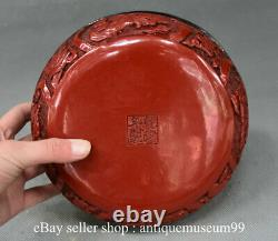 8 Qianlong Marked Chinese Red Lacquerware Dynasty Fish Flower Birds Jewelry box