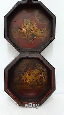 8 sided Chinese Erotic Box Hand painted Leather Bound Wooden Jewelry case art